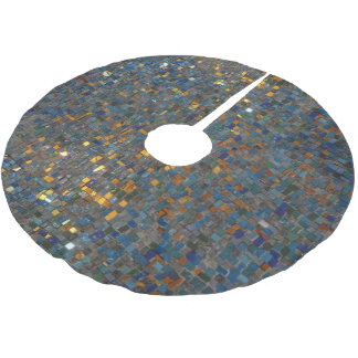 Mosaic Stones in Blue and Gold Brushed Polyester Tree Skirt