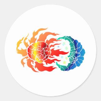 Mosaic Sun & Moon Round Sticker
