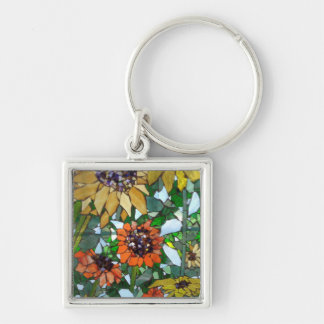 Mosaic Sunflower Silver-Colored Square Key Ring