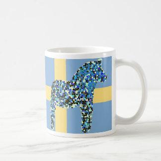 Mosaic Swedish Blue Dala Horse Basic White Mug