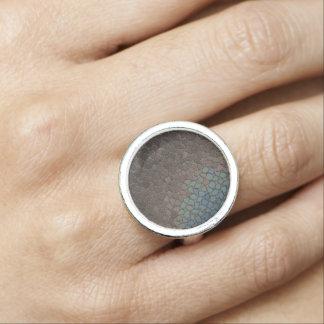 Mosaic Taupe Blue Design Ring