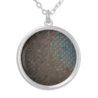 Mosaic Taupe Blue Design Silver Plated Necklace