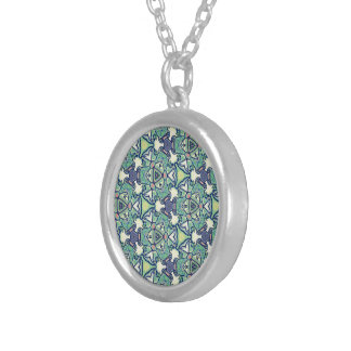 Mosaic themed, silver necklace