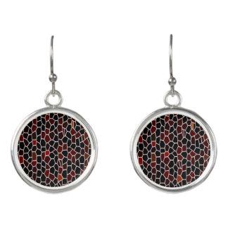 Mosaic Tile Effect-Red -Black and Burgundy Design Earrings