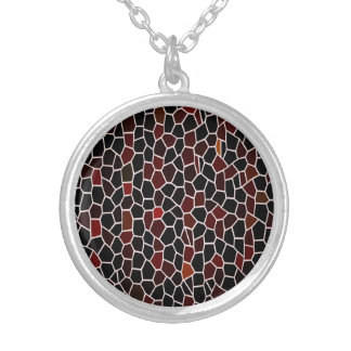 Mosaic Tile Effect-Red -Black and Burgundy Design Silver Plated Necklace