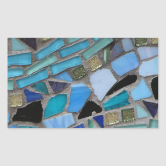 Mosaic Tiles of Blue and Green Rectangular Sticker