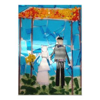"Mosaic wedding invitation 3.5"" x 5"" invitation card"