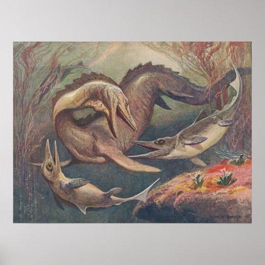 Mosasaurus Ichthyosaurus Antique Print