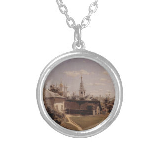 Moscow court by Vasily Polenov Round Pendant Necklace