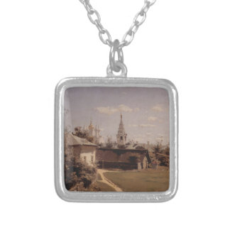 Moscow court by Vasily Polenov Square Pendant Necklace