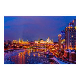 Moscow Kremlin Illuminated Art Photo