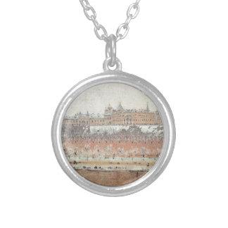 Moscow Kremlin in winter by Vasily Vereshchagin Round Pendant Necklace