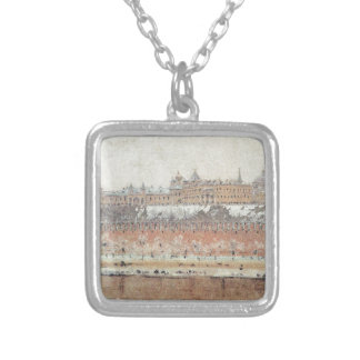 Moscow Kremlin in winter by Vasily Vereshchagin Square Pendant Necklace