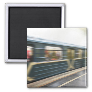 Moscow metro train square magnet