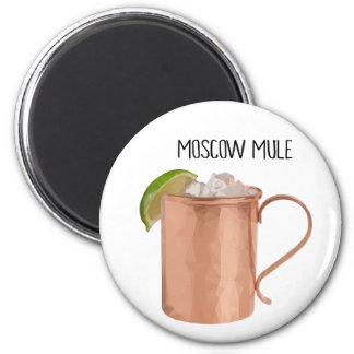 Moscow Mule Copper Mug Low Poly Geometric Design 6 Cm Round Magnet