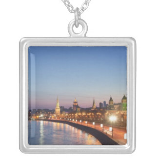 Moscow River at Dusk Square Pendant Necklace