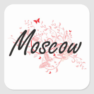 Moscow Russia City Artistic design with butterflie Square Sticker