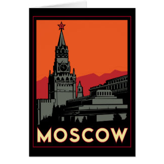 moscow russia kremlin art deco retro travel card