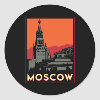 moscow russia kremlin art deco retro travel classic round sticker