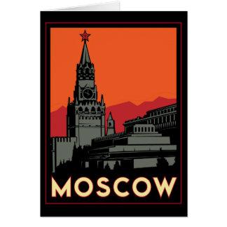 moscow russia kremlin art deco retro travel greeting card