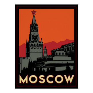 moscow russia kremlin art deco retro travel poster