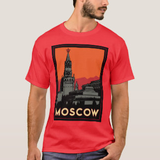 moscow russia kremlin art deco retro travel T-Shirt
