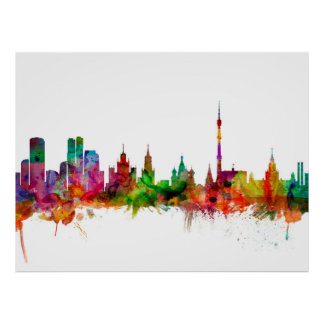 Moscow Russia Skyline Poster