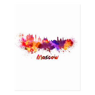 Moscow skyline in watercolor postcard