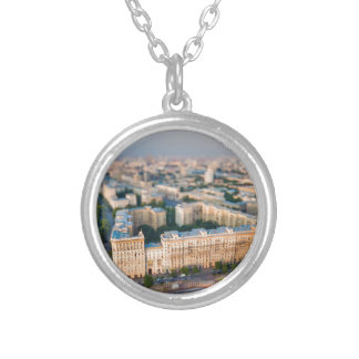 Moscow skyline round pendant necklace