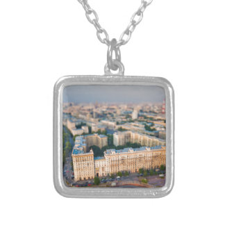 Moscow skyline square pendant necklace