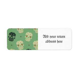 mose green,halloween,pattern,skulls,cute,scary,kid return address label
