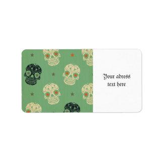 mose green,halloween,pattern,skulls,cute,scary,kid address label