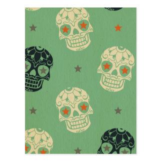 mose green,halloween,pattern,skulls,cute,scary,kid postcard