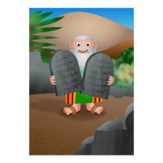 Moses and The Ten Commandments Bible Story Poster
