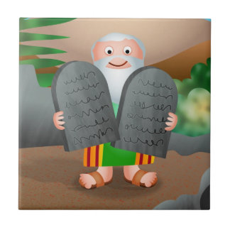 Moses and The Ten Commandments Bible Story Small Square Tile
