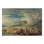Moses dividing the waters of the Red Sea Poster