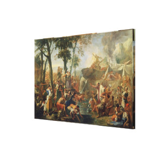 Moses Drawing Water from the Rock (oil on canvas) Canvas Print