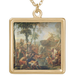 Moses Drawing Water from the Rock (oil on canvas) Gold Plated Necklace