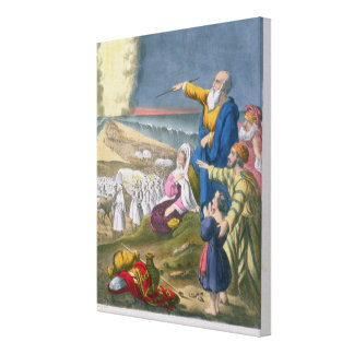 Moses Parting the Red Sea, from a bible printed by Canvas Print