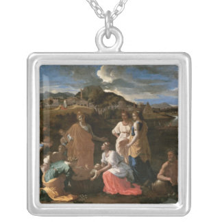 Moses Rescued from the Water, 1647 Silver Plated Necklace