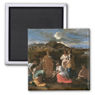 Moses Rescued from the Water, 1647 Square Magnet