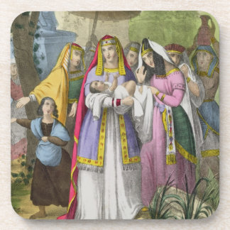Moses Saved by Pharaoh's Daughter, from a bible pr Beverage Coasters