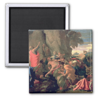 Moses Striking Water from the Rock, 1649 Square Magnet