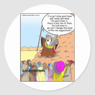 Moses & The Ten Suggestions Funny Gifts & Tees Classic Round Sticker