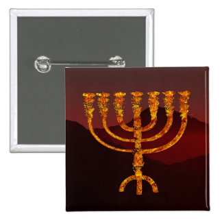 Moshe's Menorah 15 Cm Square Badge