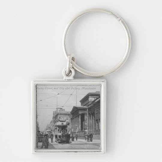 Mosley Street Silver-Colored Square Key Ring