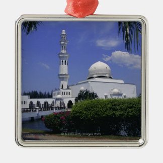 Mosque and tower, Singapore Silver-Colored Square Decoration