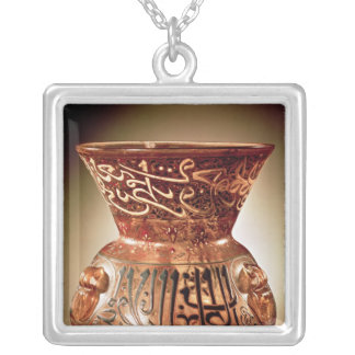 Mosque lamp with enamelled decoration inscribed silver plated necklace