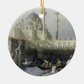 Mosque of Sultana Valide from the Port, engraved b Christmas Ornament