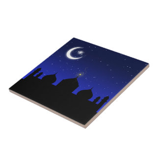 Mosque Silhouette at Night - Tile
